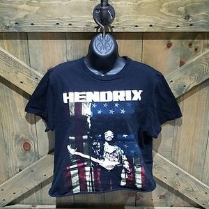 AUTHENTIC JIMMY HENDRIX CROPPED BLACK GRAPHIC TEE